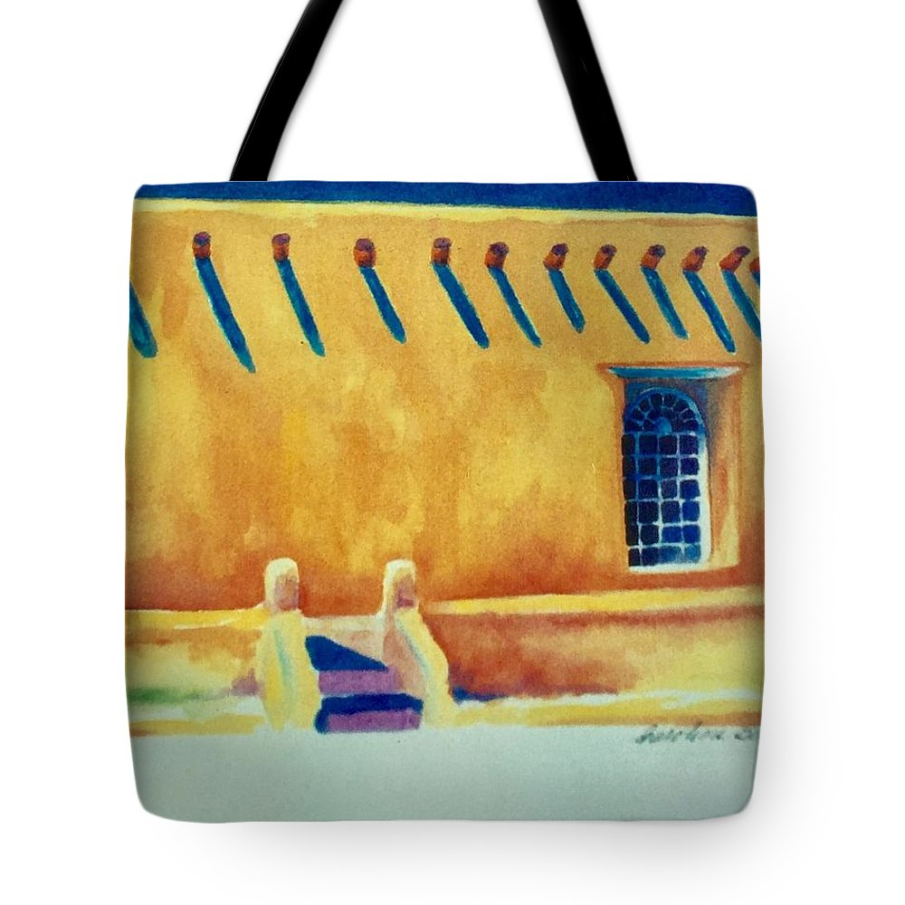 Taos Noon Tote Bag featuring the painting Taos Noon by Caroline Patrick