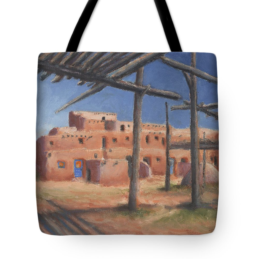 Taos Tote Bag featuring the painting Taos Pueblo by Jerry McElroy