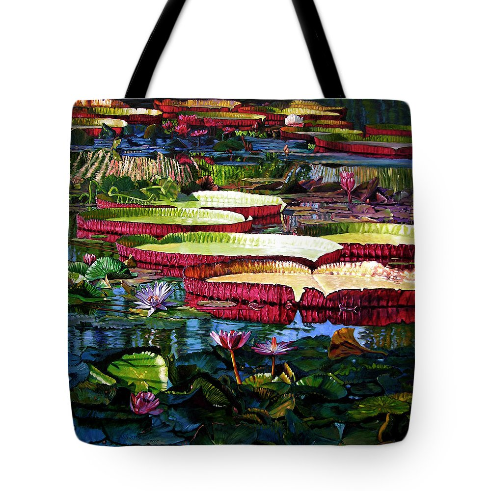 Landscape Tote Bag featuring the painting Tapestry Of Color And Light by John Lautermilch