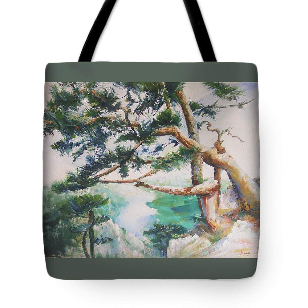 Oil Tote Bag featuring the painting Tara by Jovica Kostic