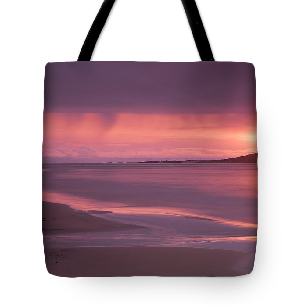Scotland Tote Bag featuring the photograph Taransay At Sunset by Neil Alexander