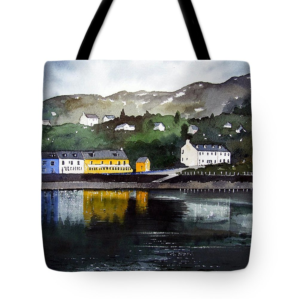 Scottish Fishing Harbour Tote Bag featuring the painting Tarbert Reflections by Paul Dene Marlor
