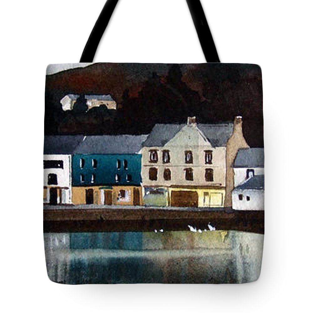 Landscape Tote Bag featuring the painting Tarbert Reflections by Paul Dene Marlor
