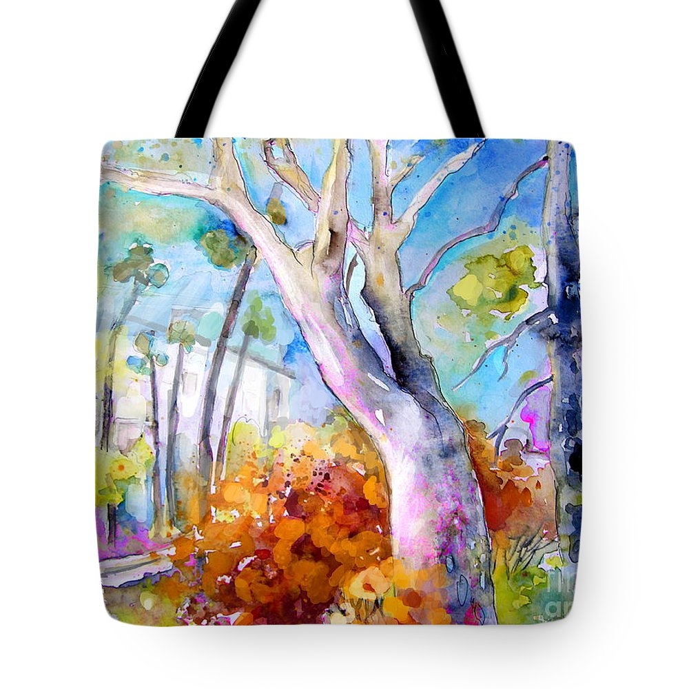 Tarbes Tote Bag featuring the painting Tarbes 02 by Miki De Goodaboom