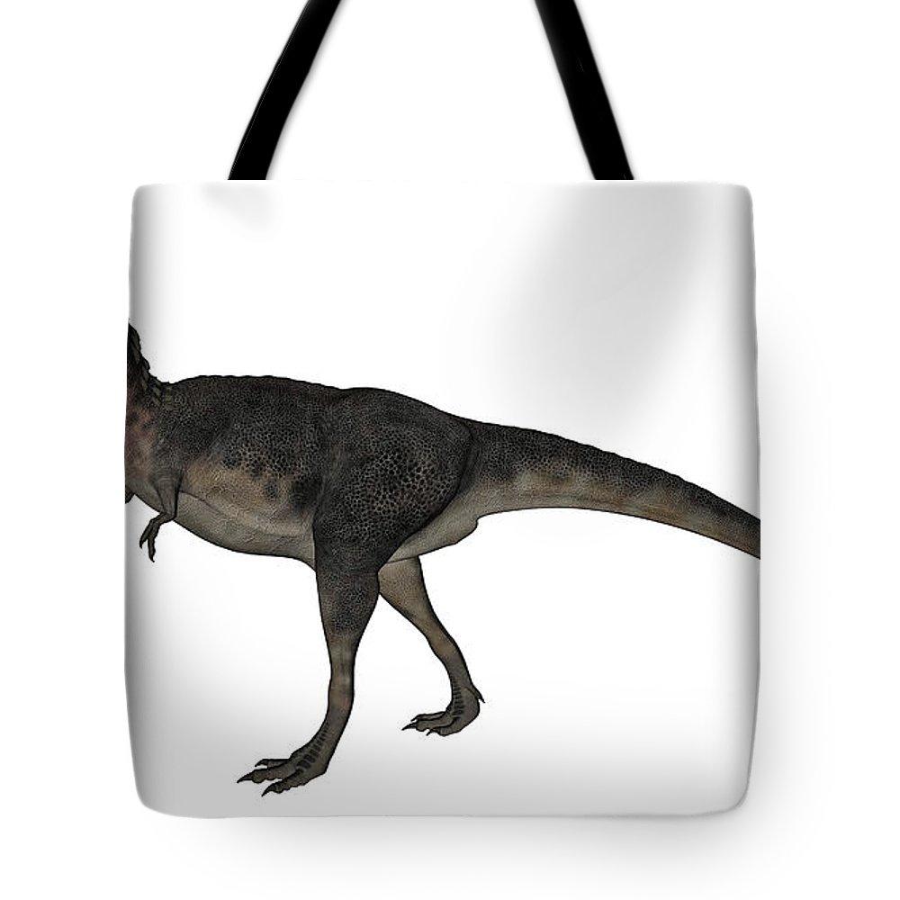 Dinosaur Tote Bag featuring the digital art Tarbosaurus Dinosaur Roaring, White by Elena Duvernay