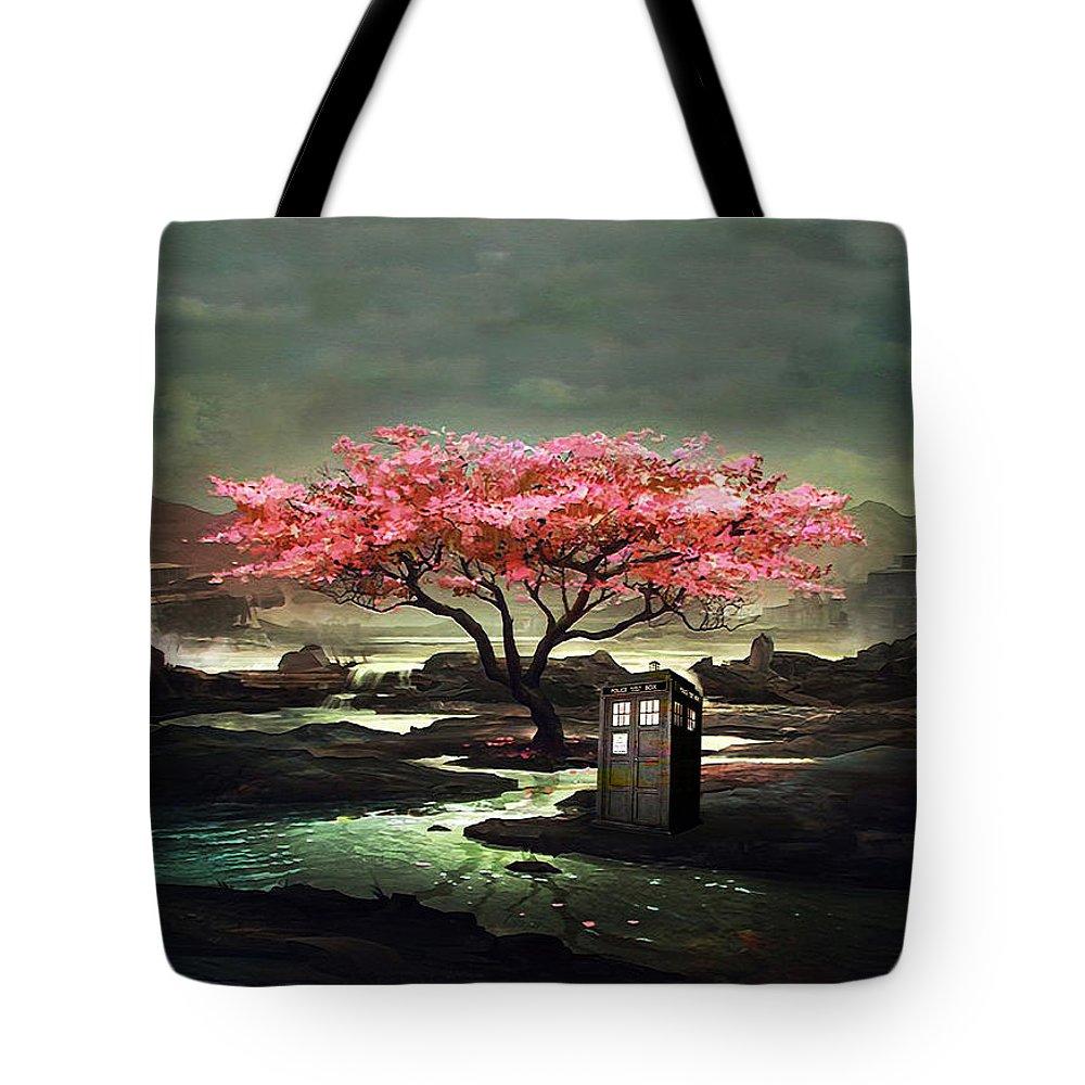 Tardis Tote Bag featuring the painting Tardis Blossom by Koko Priyanto