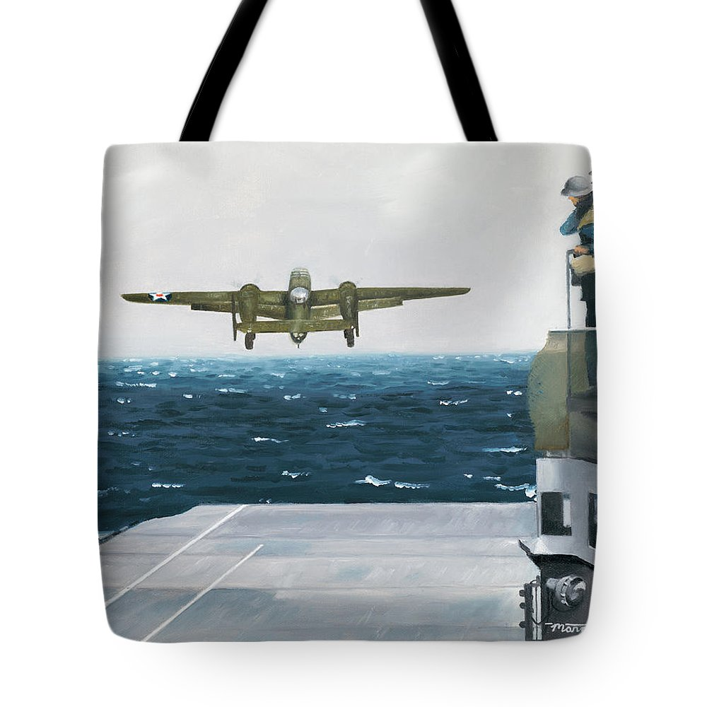 Aviation Tote Bag featuring the painting Target Tokyo by Marc Stewart