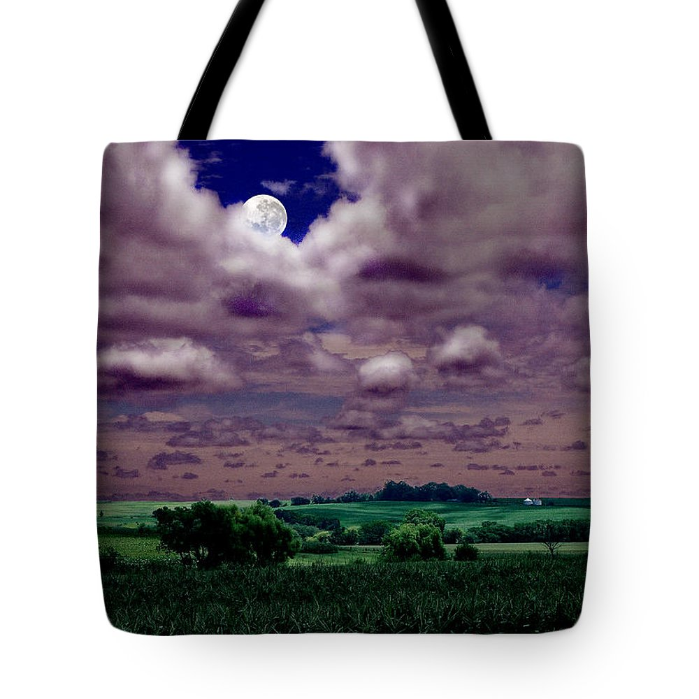 Landscape Tote Bag featuring the photograph Tarkio Moon by Steve Karol