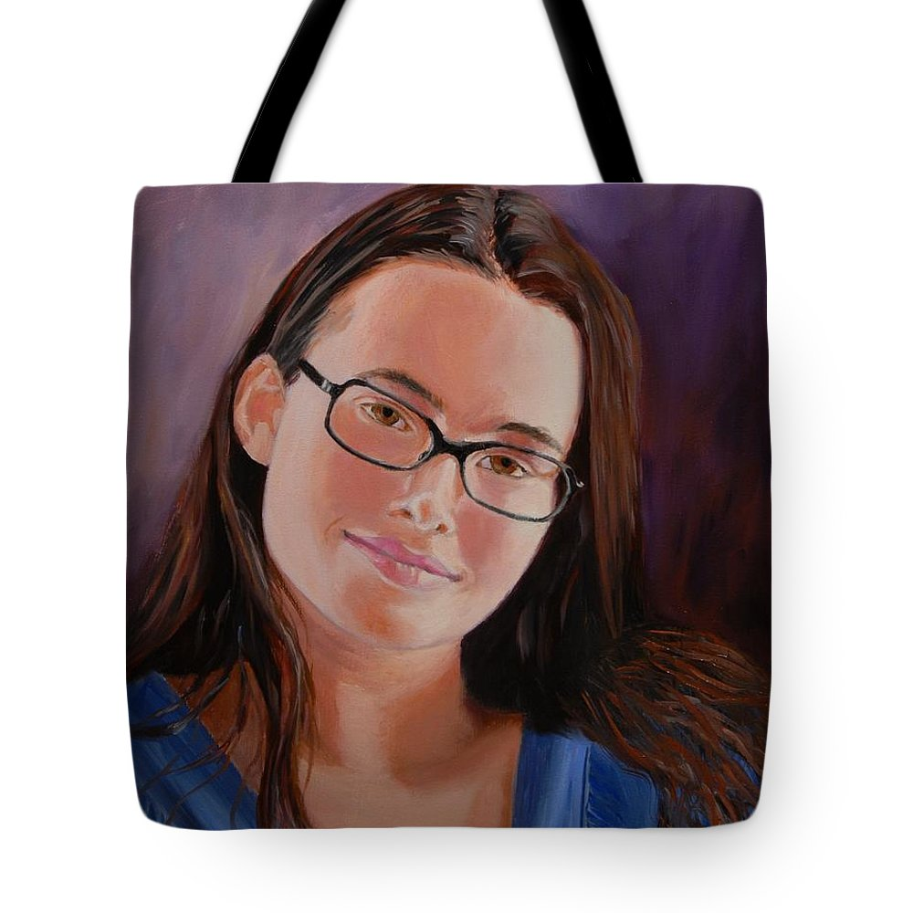 Portrait Tote Bag featuring the painting Taryn Snow by Quwatha Valentine