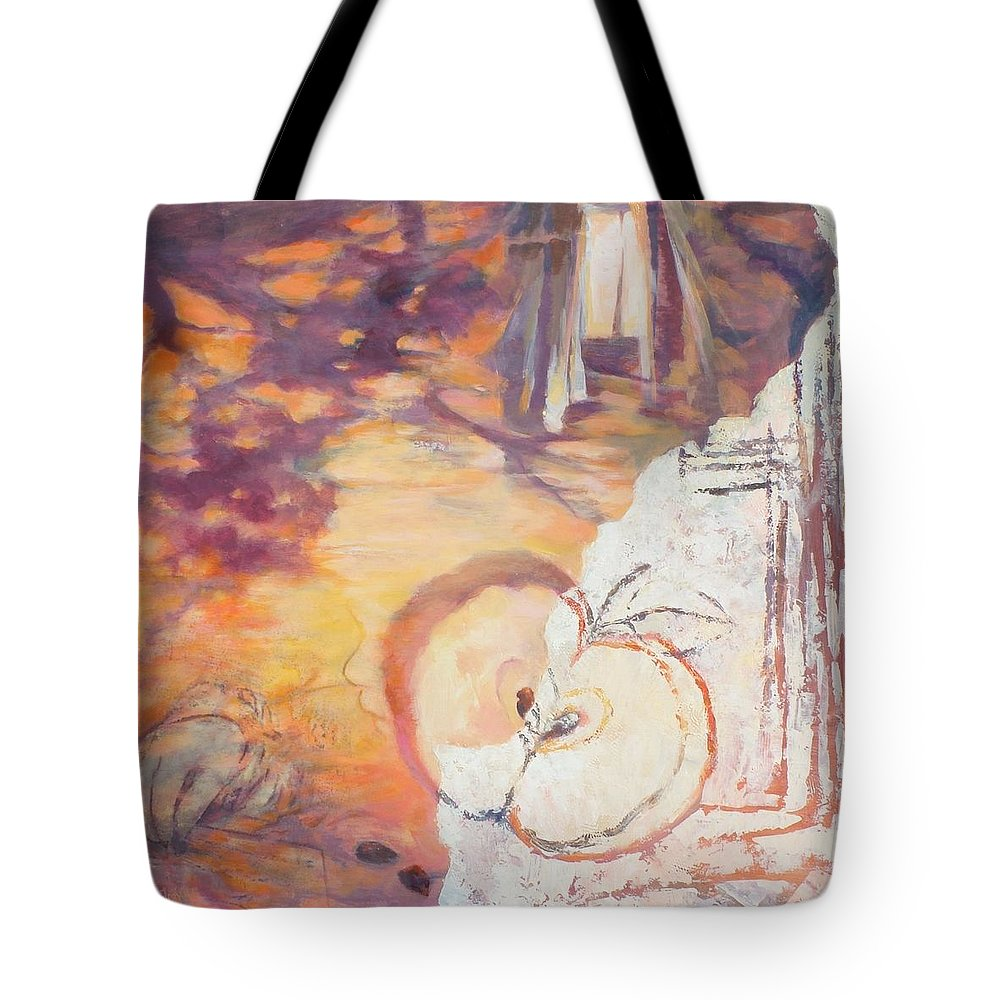 Acrylic Tote Bag featuring the painting Taste Of The Apple Seeds by Ekaterina Mortensen