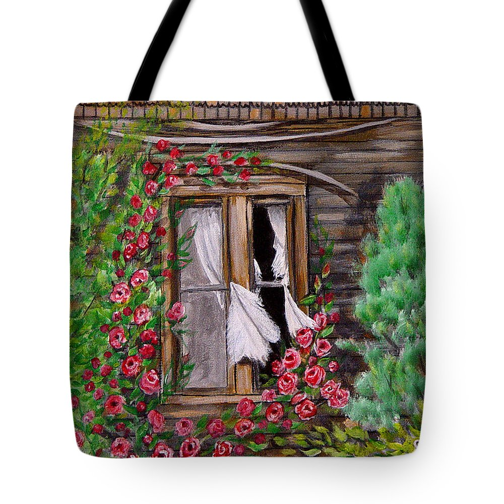Curtains Tote Bag featuring the painting Tattered Curtains by Quwatha Valentine