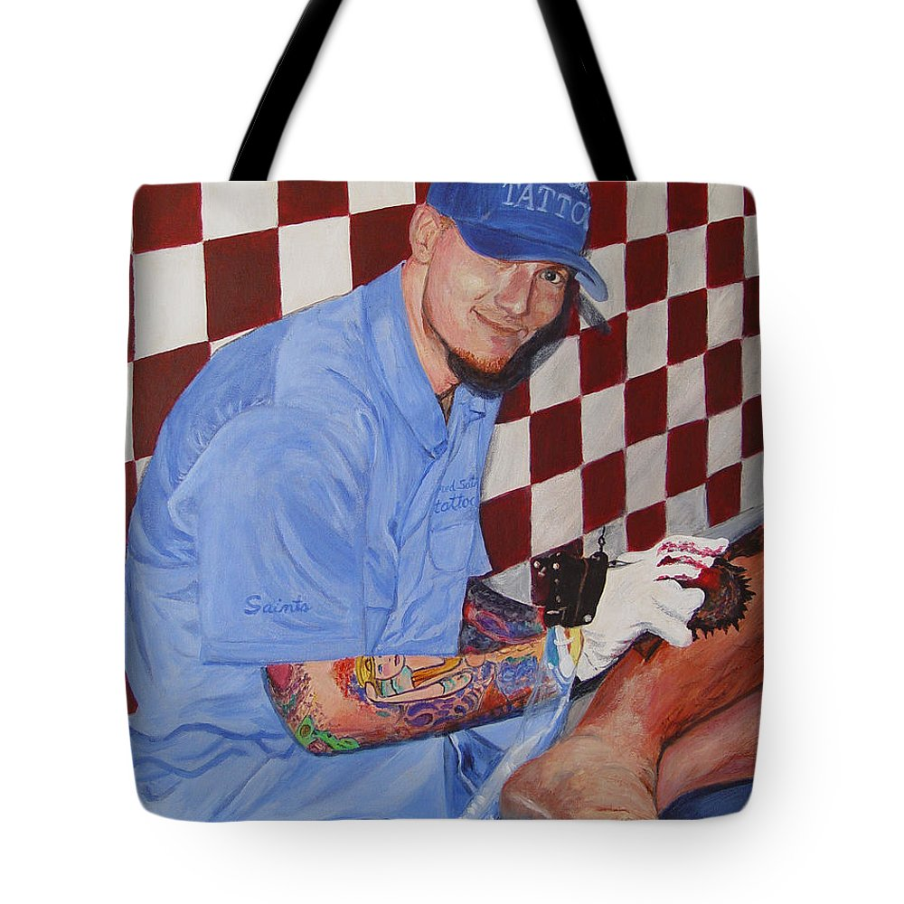 Tattoo Tote Bag featuring the painting Tattoo Artist - Brandon Notch by Quwatha Valentine