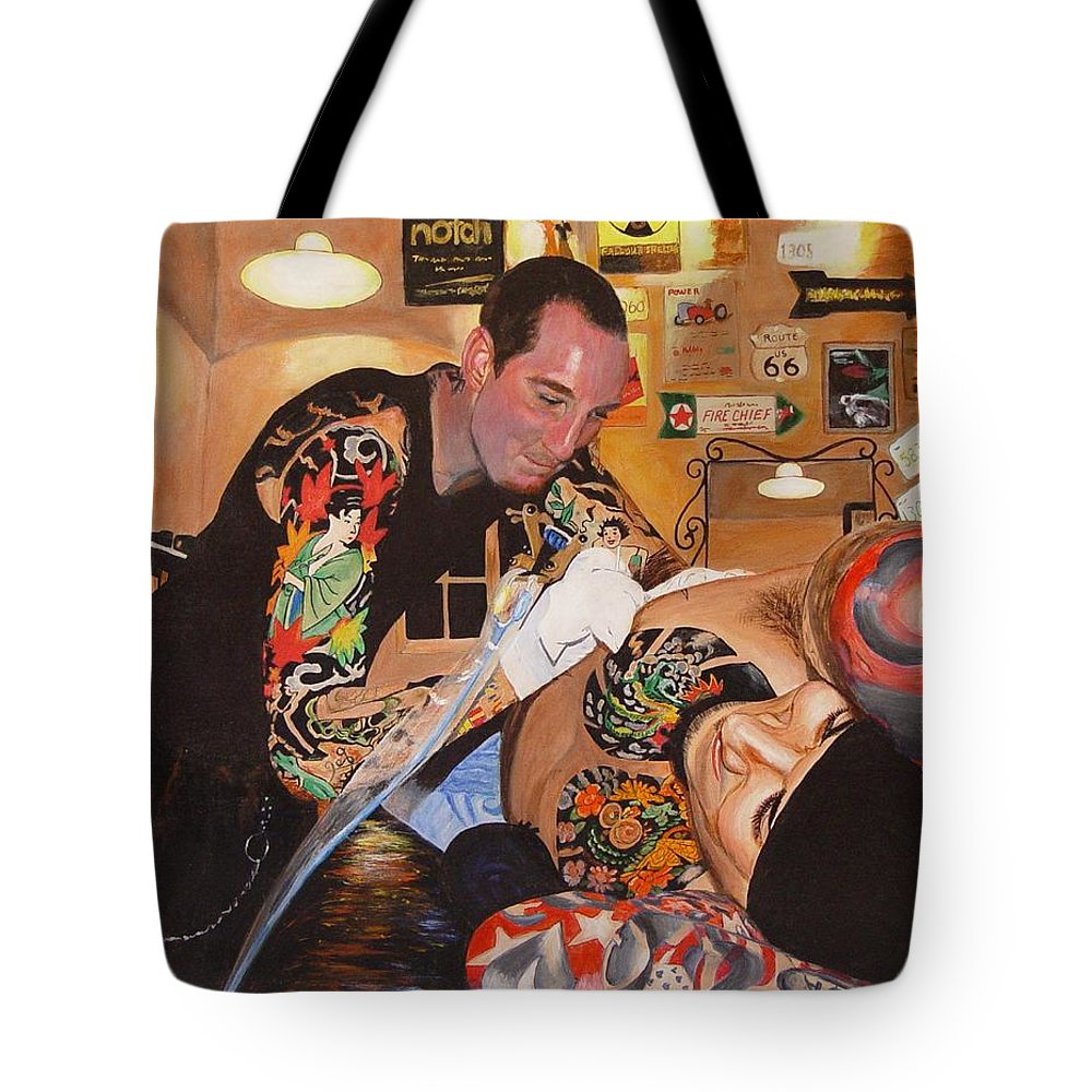 Portrait Tote Bag featuring the painting Tattoo Artist by Quwatha Valentine