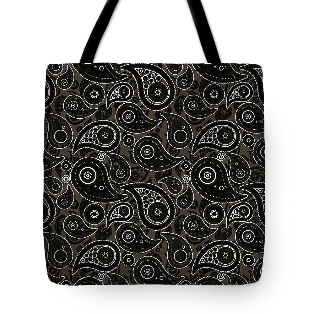 Taupe Tote Bag featuring the digital art Taupe Brown Paisley Design by Ross