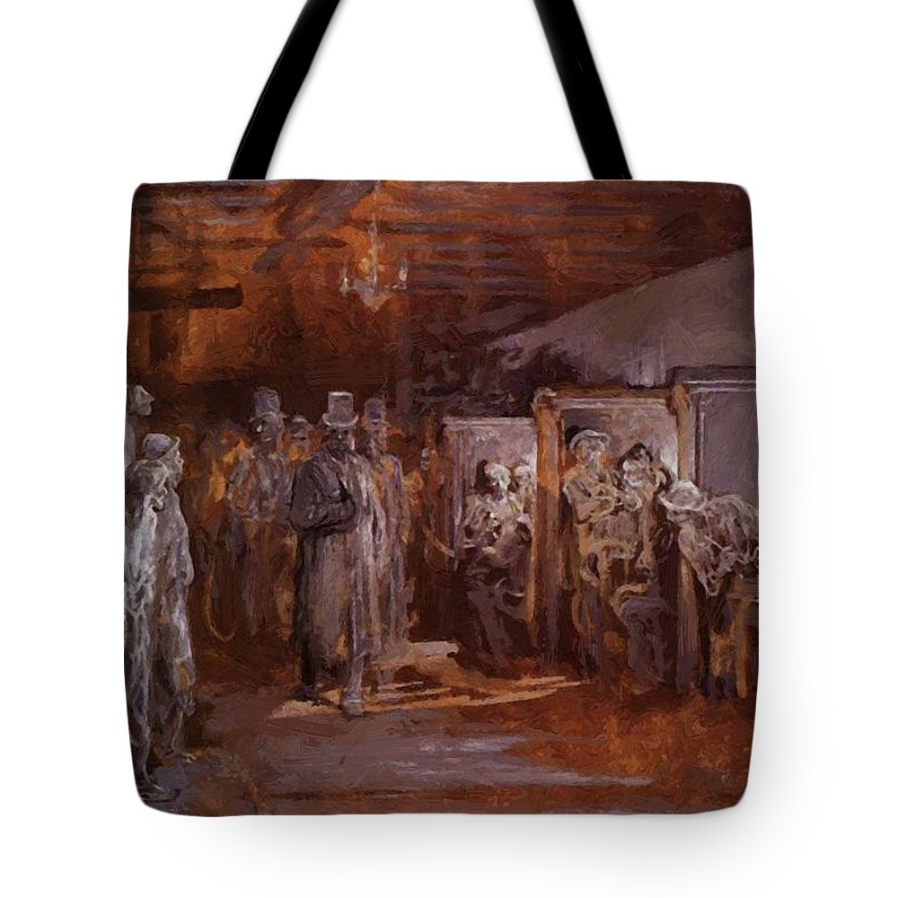 Tavern Tote Bag featuring the painting Tavern In Whitechapel 1869 by Dore Gustave
