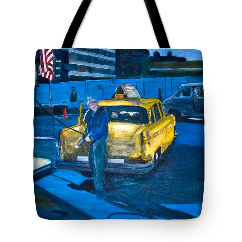 New York City Paintings Tote Bag featuring the painting Taxi by Wayne Pearce