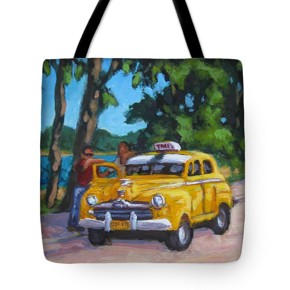 Old Cars Tote Bag featuring the painting Taxi Y Amigos by John Malone