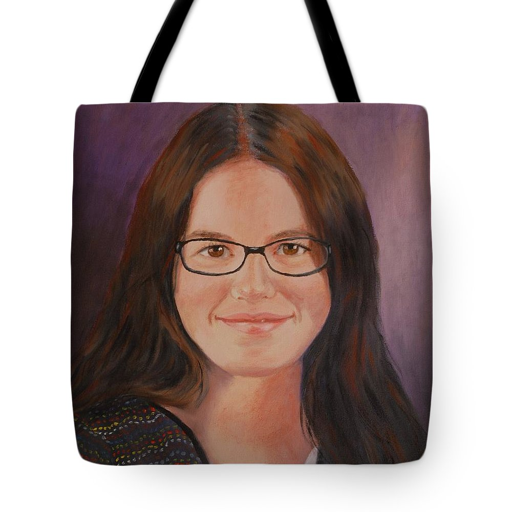 Portrait Tote Bag featuring the painting Taylor Snow by Quwatha Valentine
