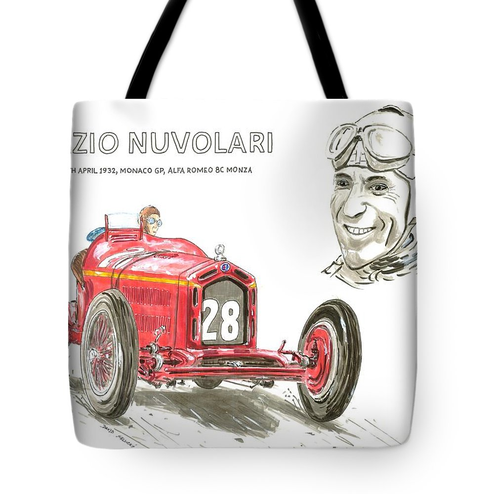 Racing Tote Bag featuring the drawing Tazio Nuvolari In Alfa by David  Selucky b9bf9a284f8