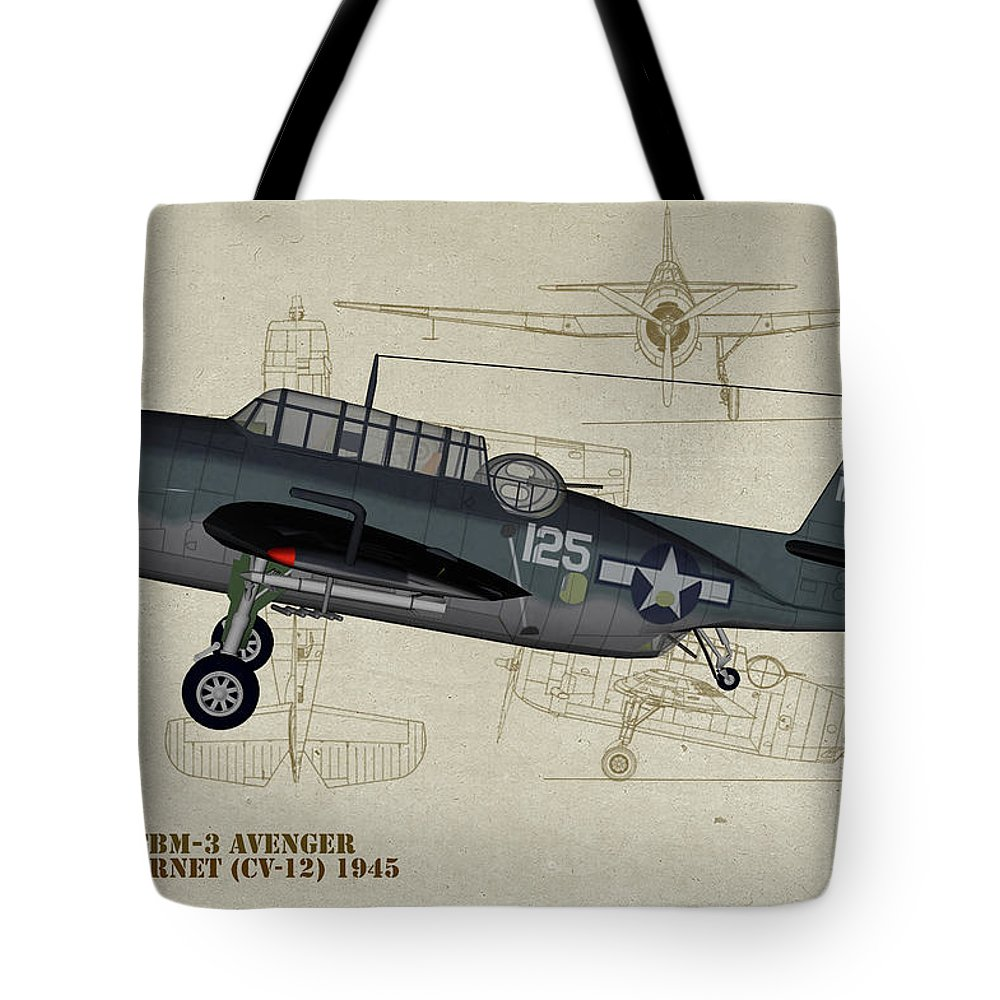 Grumman Tbm Avenger Tote Bag featuring the digital art Tbm-3 Avenger Profile Art by Tommy Anderson