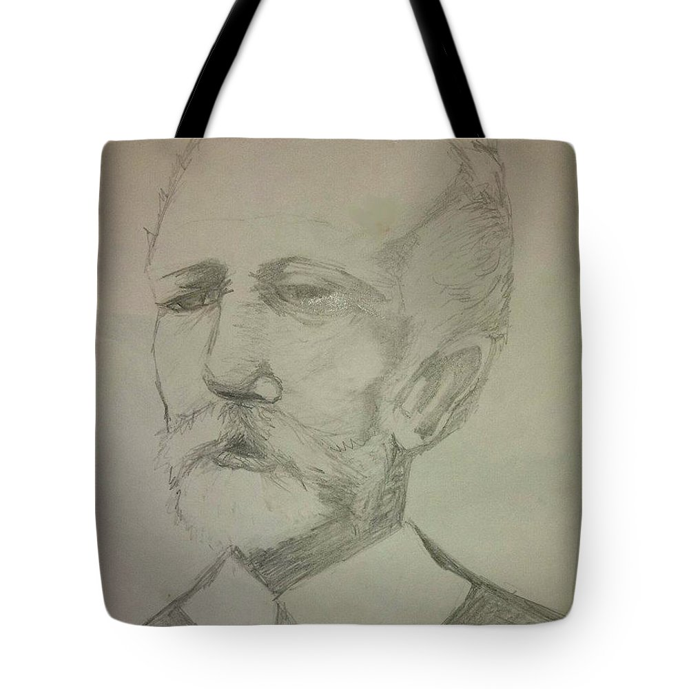Tote Bag featuring the drawing Tchaikovsky by Lauren Champion