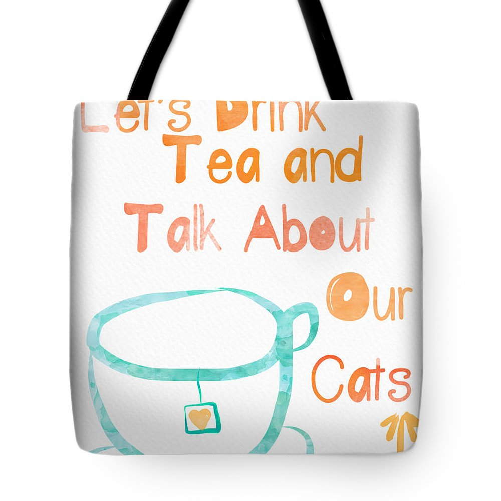 Tea Tote Bag featuring the painting Tea and Cats by Linda Woods