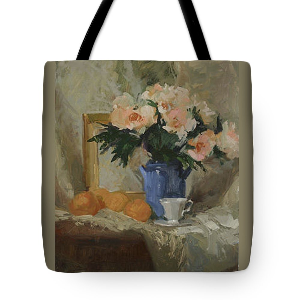 Still Life Tote Bag featuring the painting Tea And Roses by Betty Jean Billups