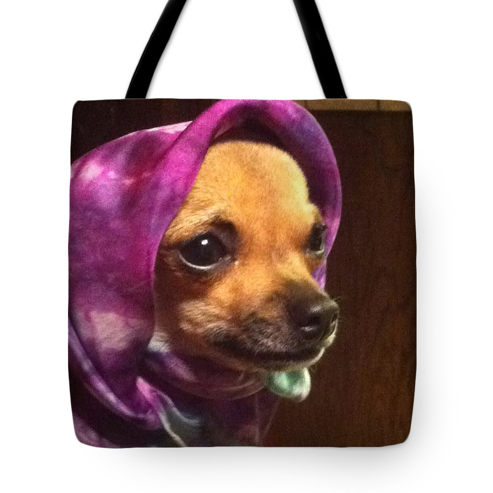 Puppy Tote Bag featuring the photograph Tea Cup Wearing Silk by Beverly Johnson