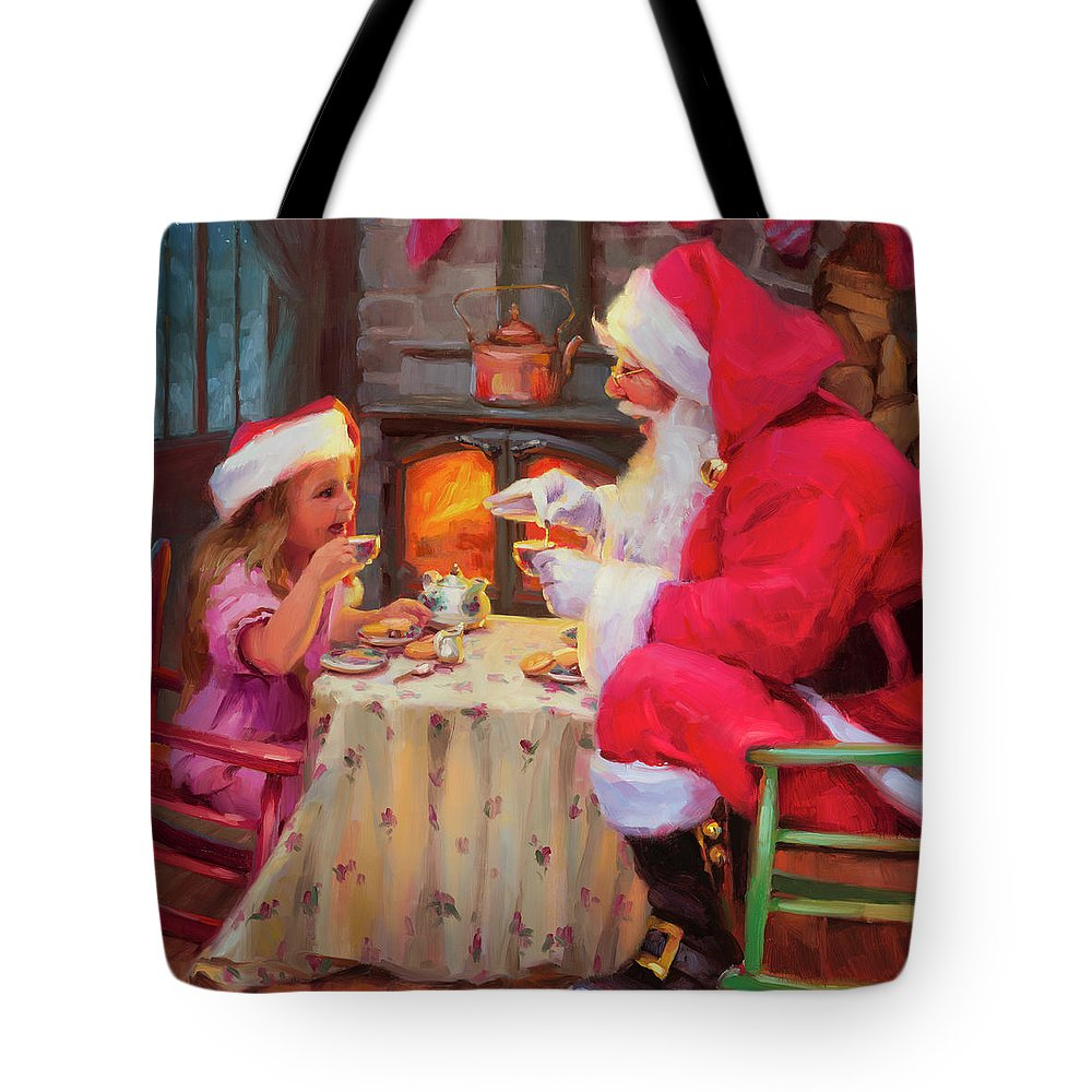 Christmas Tote Bag featuring the painting Tea For Two by Steve Henderson