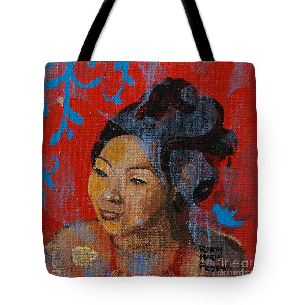 Tea Girl Tote Bag featuring the painting Tea Girl by Robin Maria Pedrero