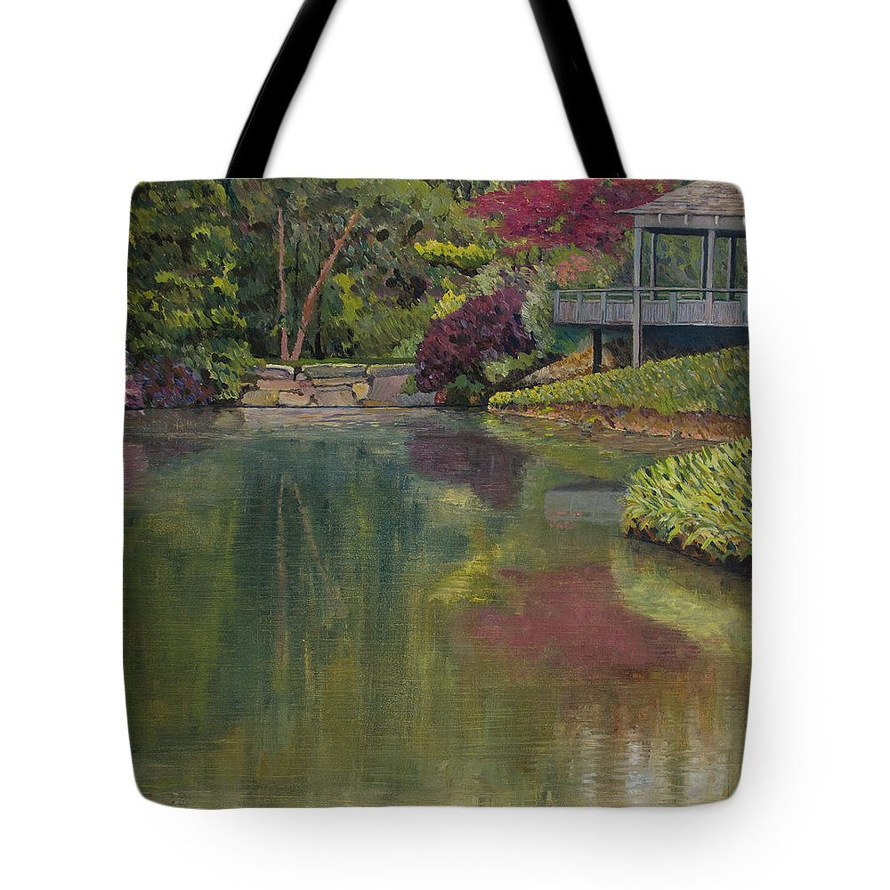 Impressionist Tote Bag featuring the painting Tea House by Don Perino