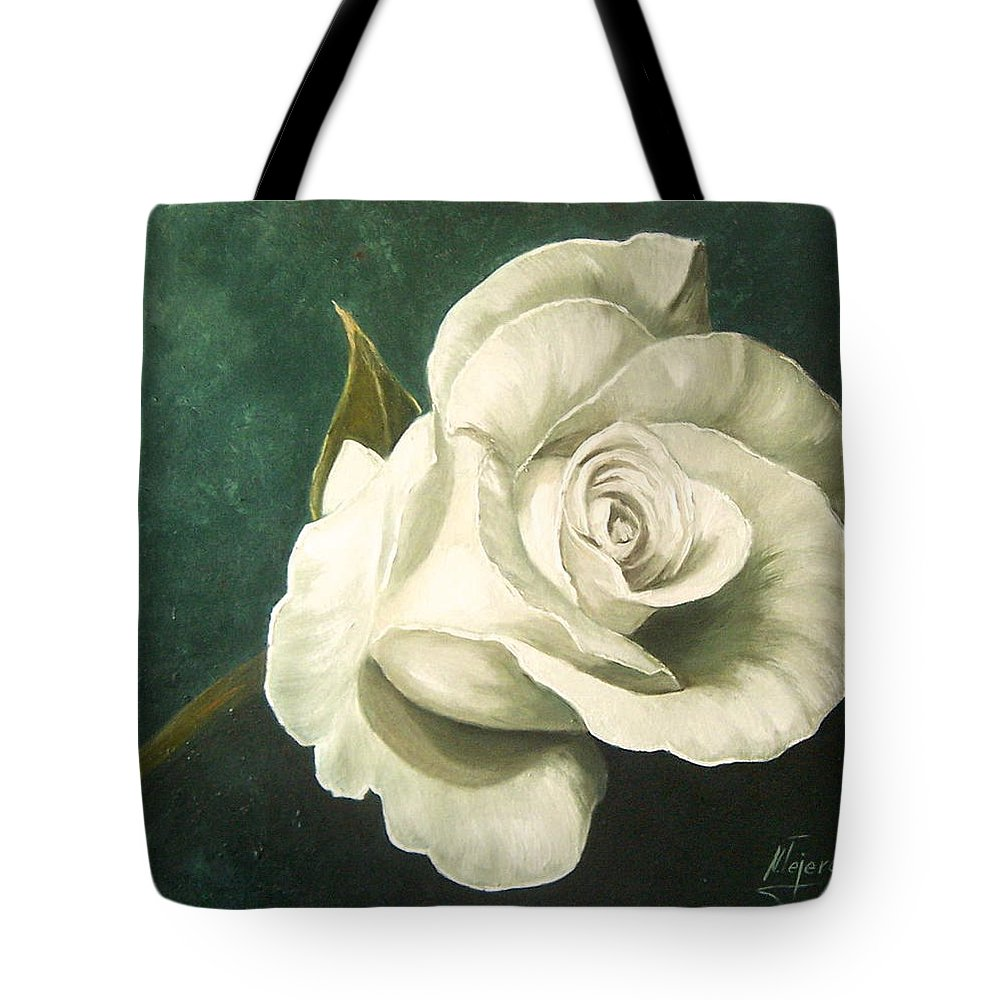 Rose Flower Still Life White Tote Bag featuring the painting Tea Rose by Natalia Tejera