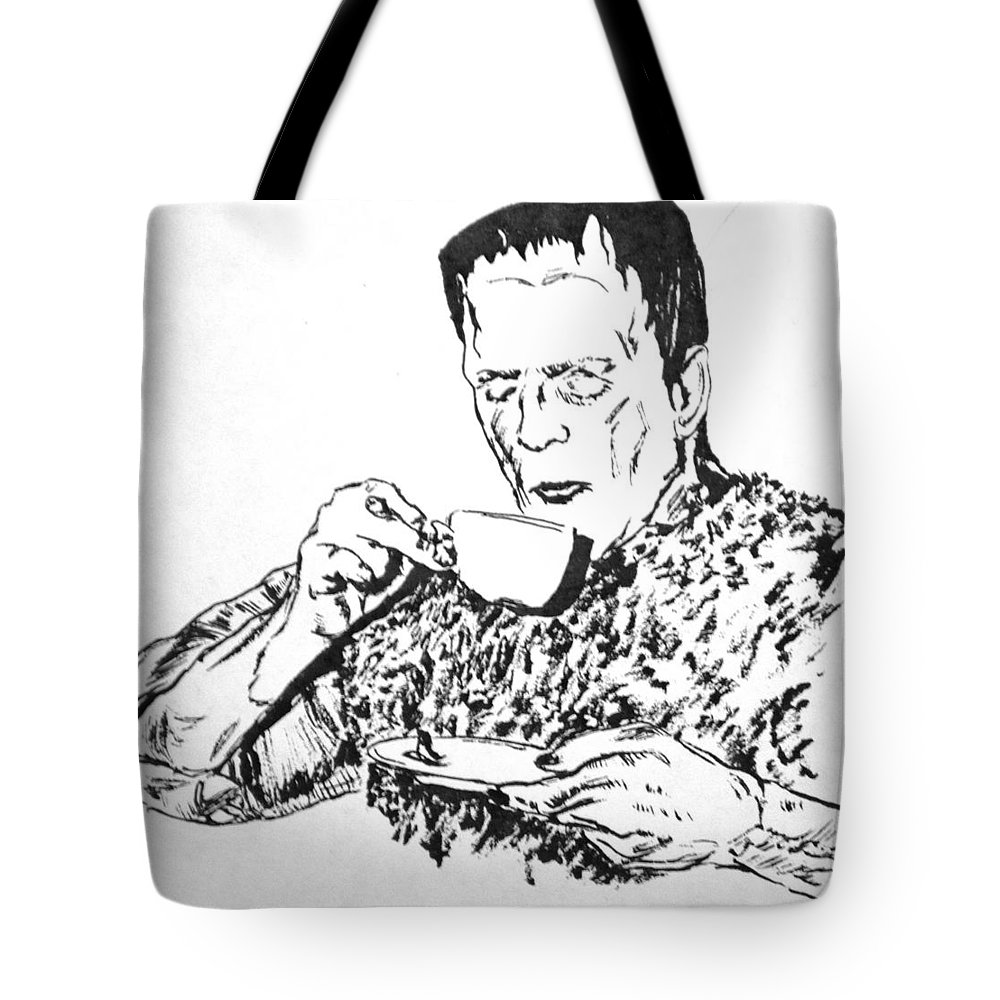 Boris Karloff Tote Bag featuring the painting Tea Time by Bryan Bustard