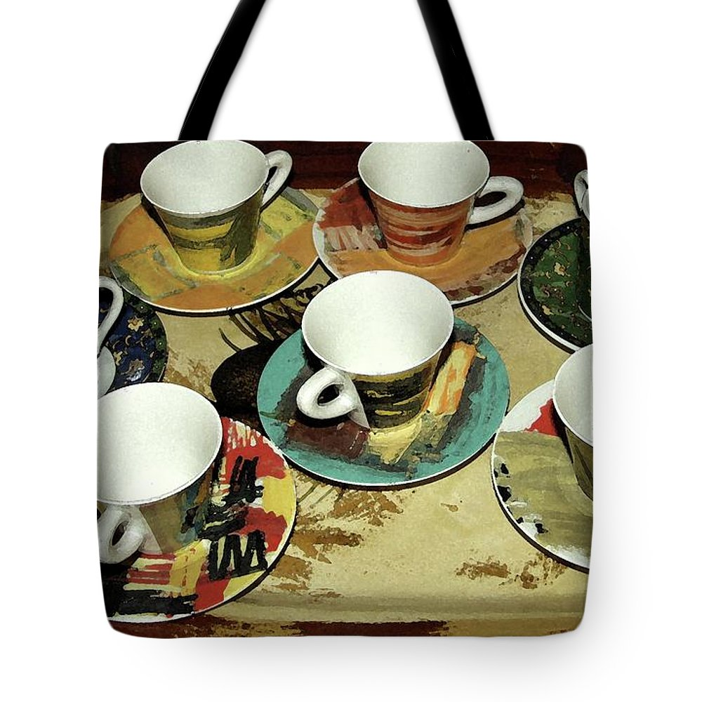Tea Cups Tote Bag featuring the photograph Tea Time by Carol Sweetwood