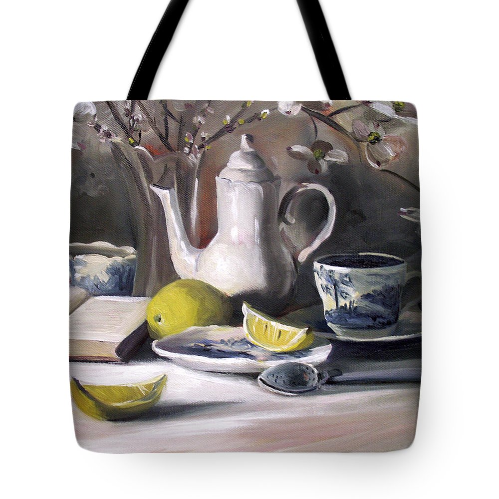 Lemon Tote Bag featuring the painting Tea With Lemon by Nancy Griswold