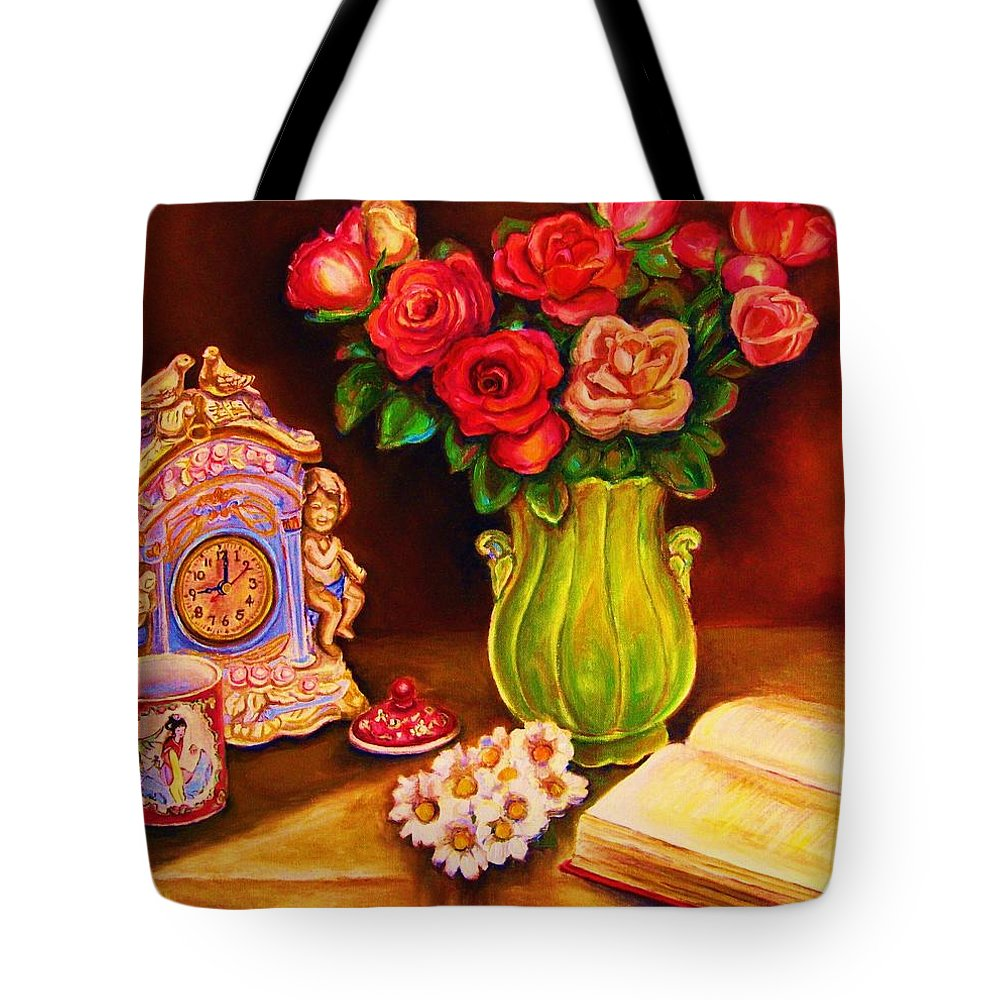 Impressionism Tote Bag featuring the painting Teacup And Roses by Carole Spandau