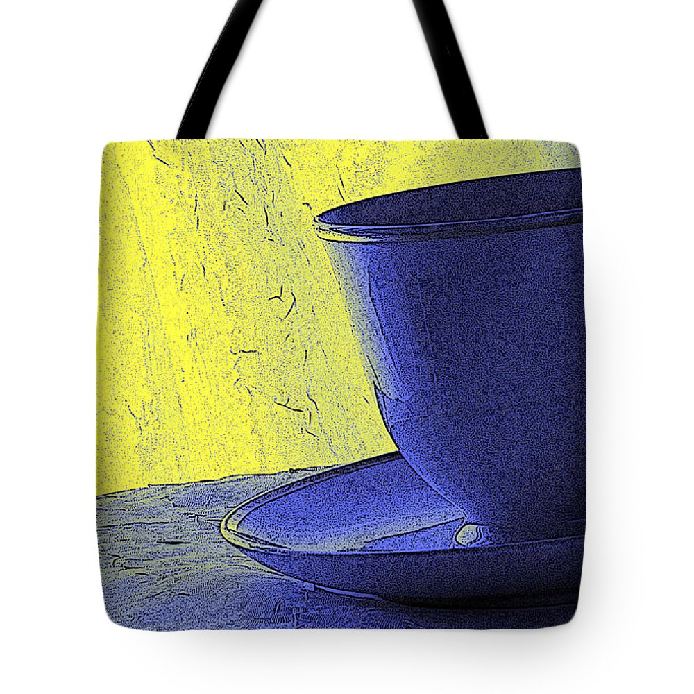 Blue Tote Bag featuring the digital art Teacup by Jacqueline Milner