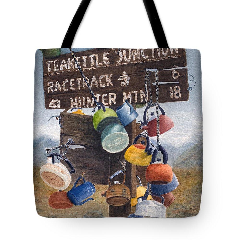 Teakettle Tote Bag featuring the painting Teakettle Junction by Karen Fleschler