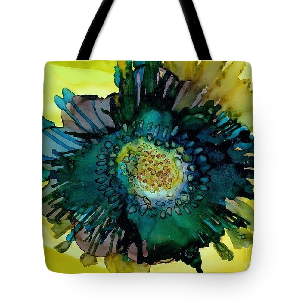 Alcohol Ink Tote Bag featuring the painting Teal Bloom by Beth Kluth