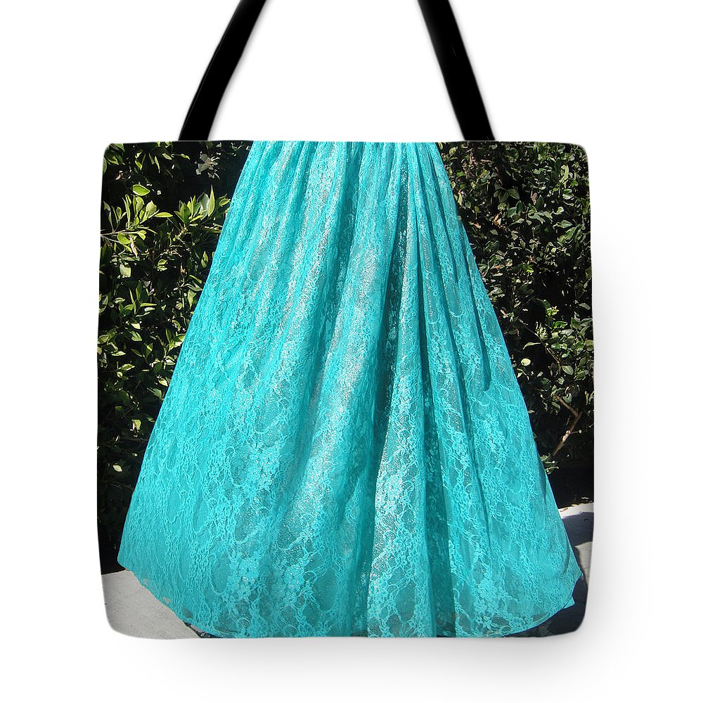 Ameynra Tote Bag featuring the photograph Teal Green Lace Skirt. Ameynra By Sofia by Sofia Metal Queen