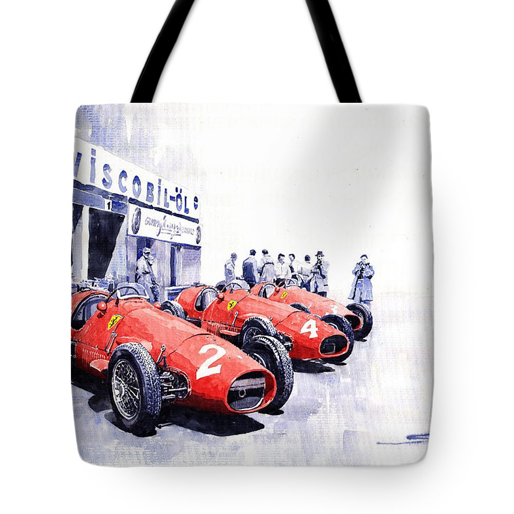 Watercolour Tote Bag featuring the painting 1953 Team Ferrari 500 F2 German Gp by Yuriy Shevchuk