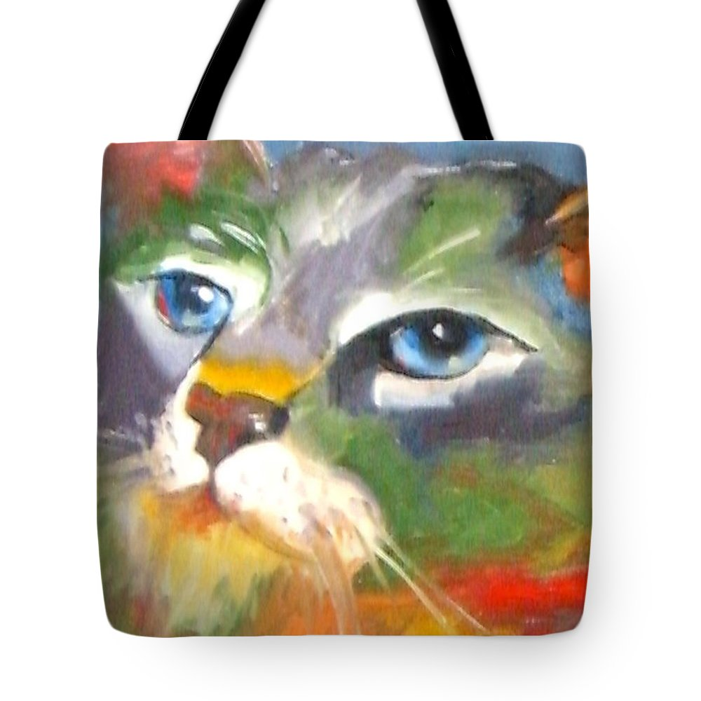 Cat Tote Bag featuring the painting Technicolor Tabby by Susan A Becker