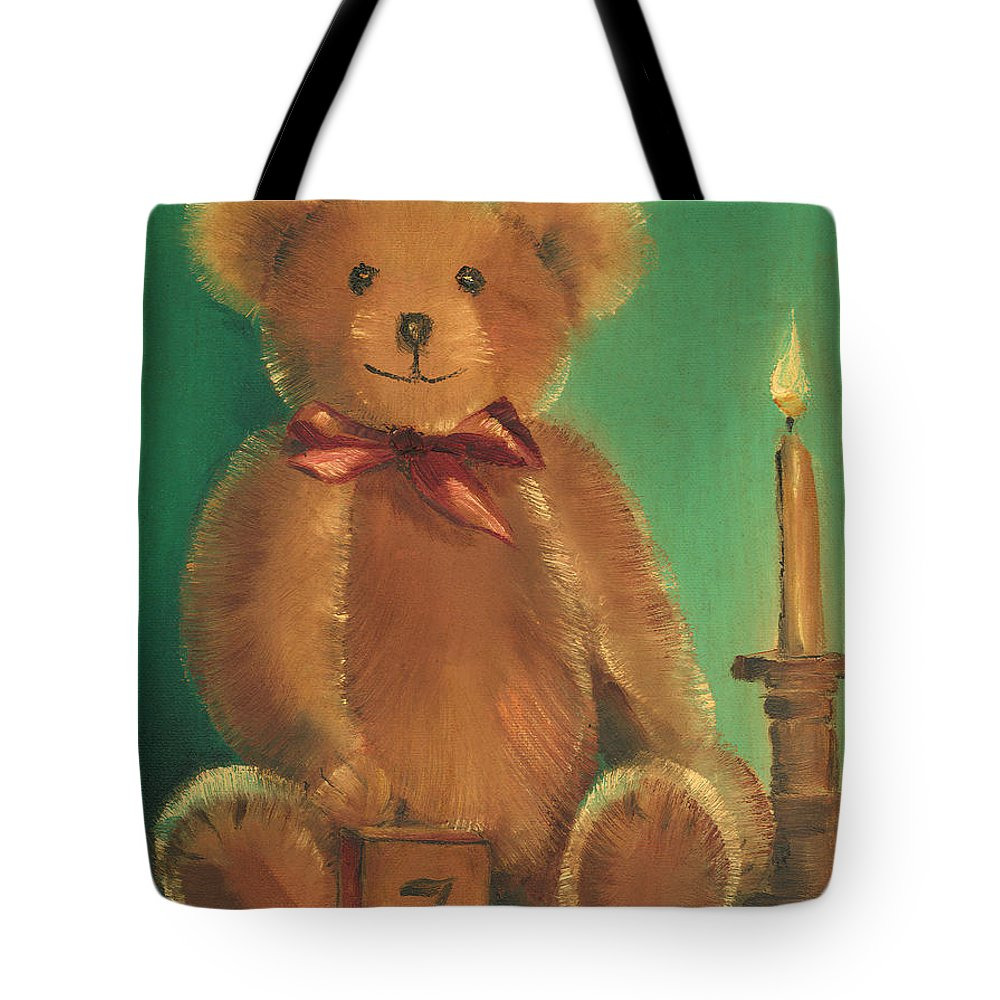 Teddy Bear Tote Bag featuring the painting Ted E. Bear by Arline Wagner