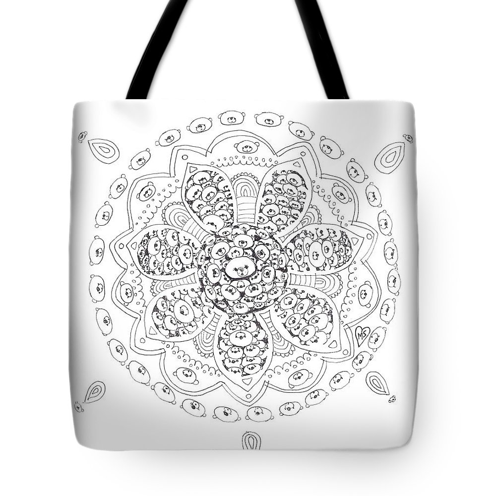 Tote Bag featuring the drawing Teddy Bear Mandala by Melanie Sastria