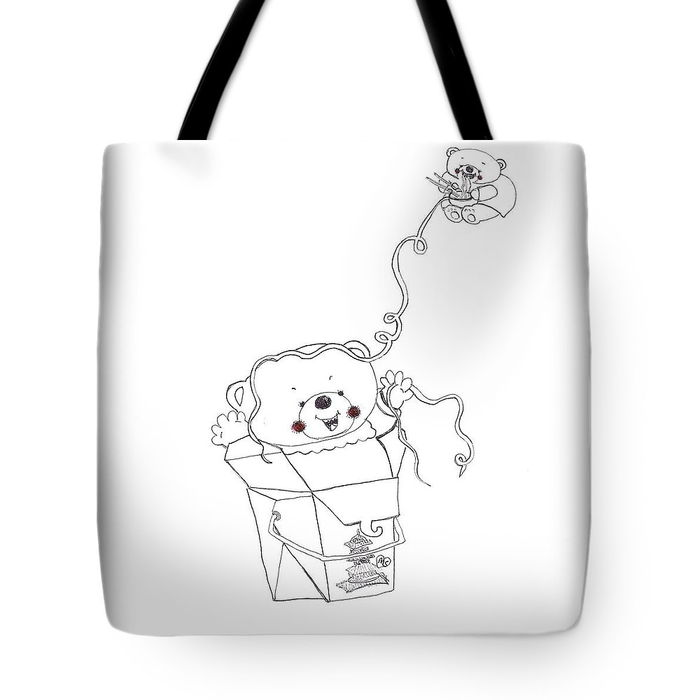 Teddy Bear Tote Bag featuring the drawing Teddy Bear Noodles by Melanie Sastria