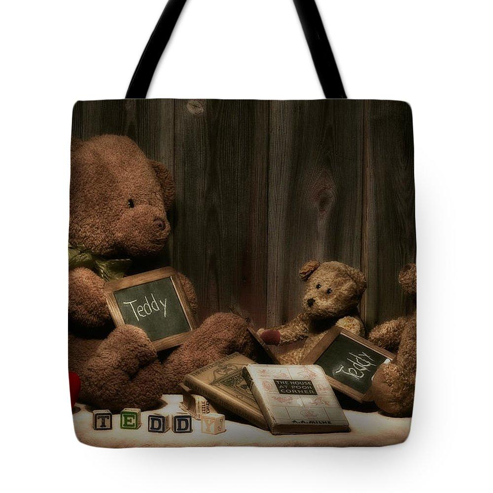 Animal Tote Bag featuring the photograph Teddy Bear School by Tom Mc Nemar