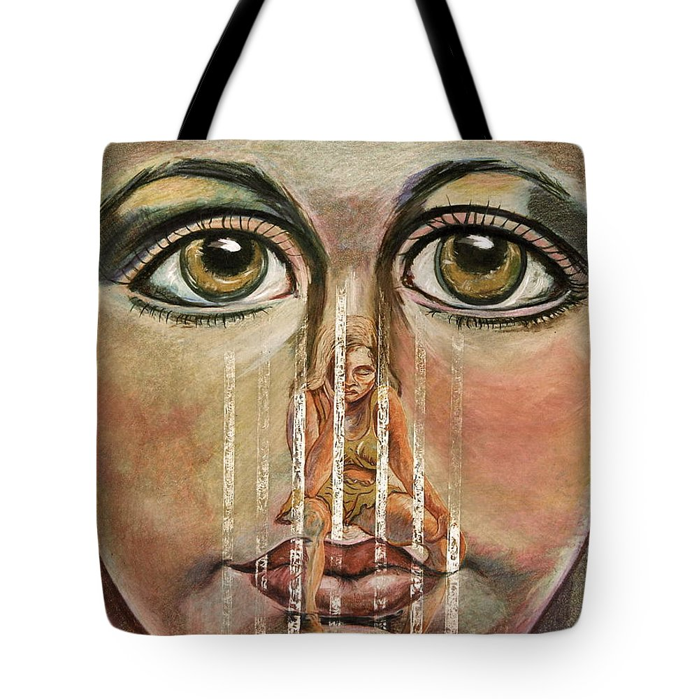 Girls Tote Bag featuring the painting Teen Depression by Gail Allen