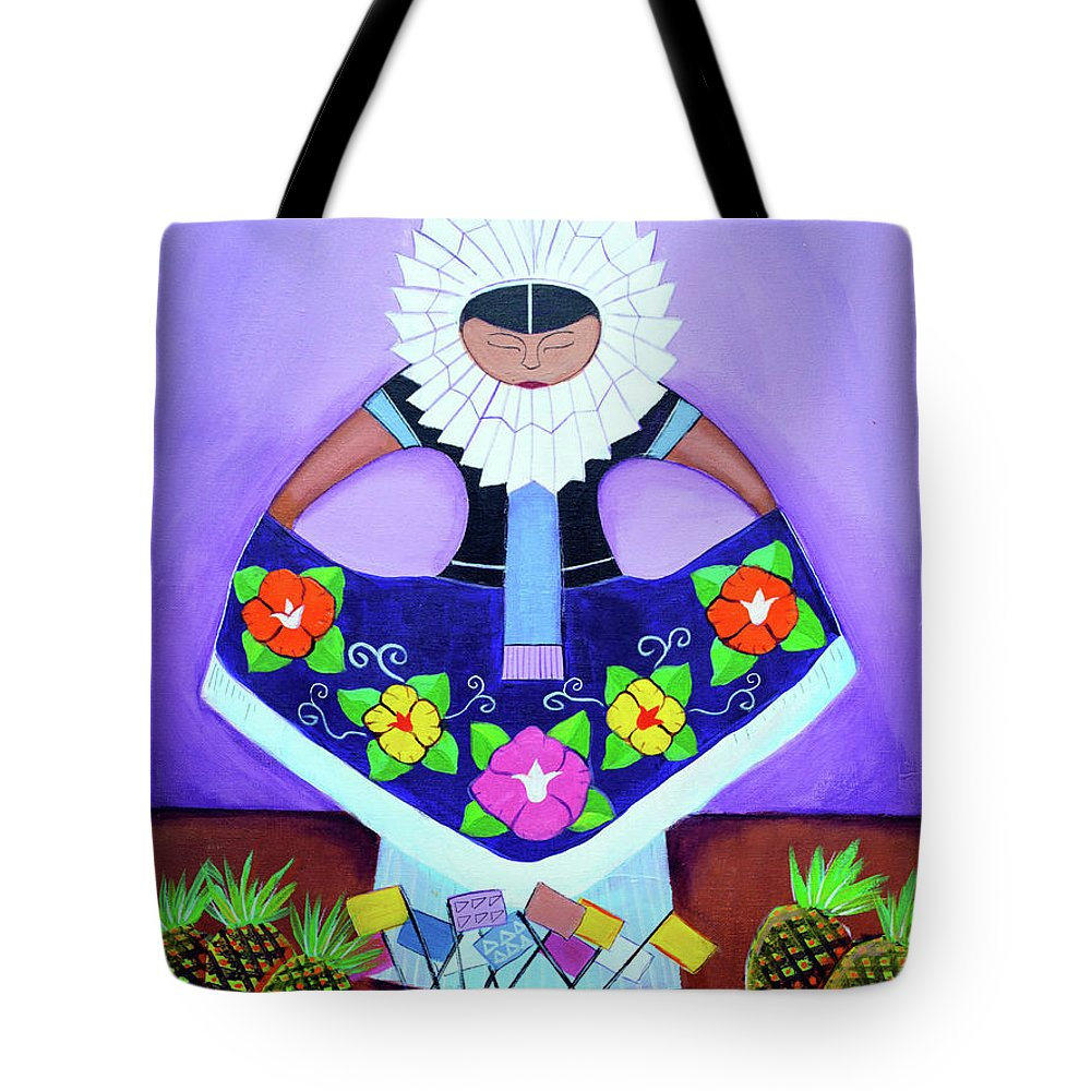 Tehuana Tote Bag featuring the drawing Tehuana by Arturo Martinez