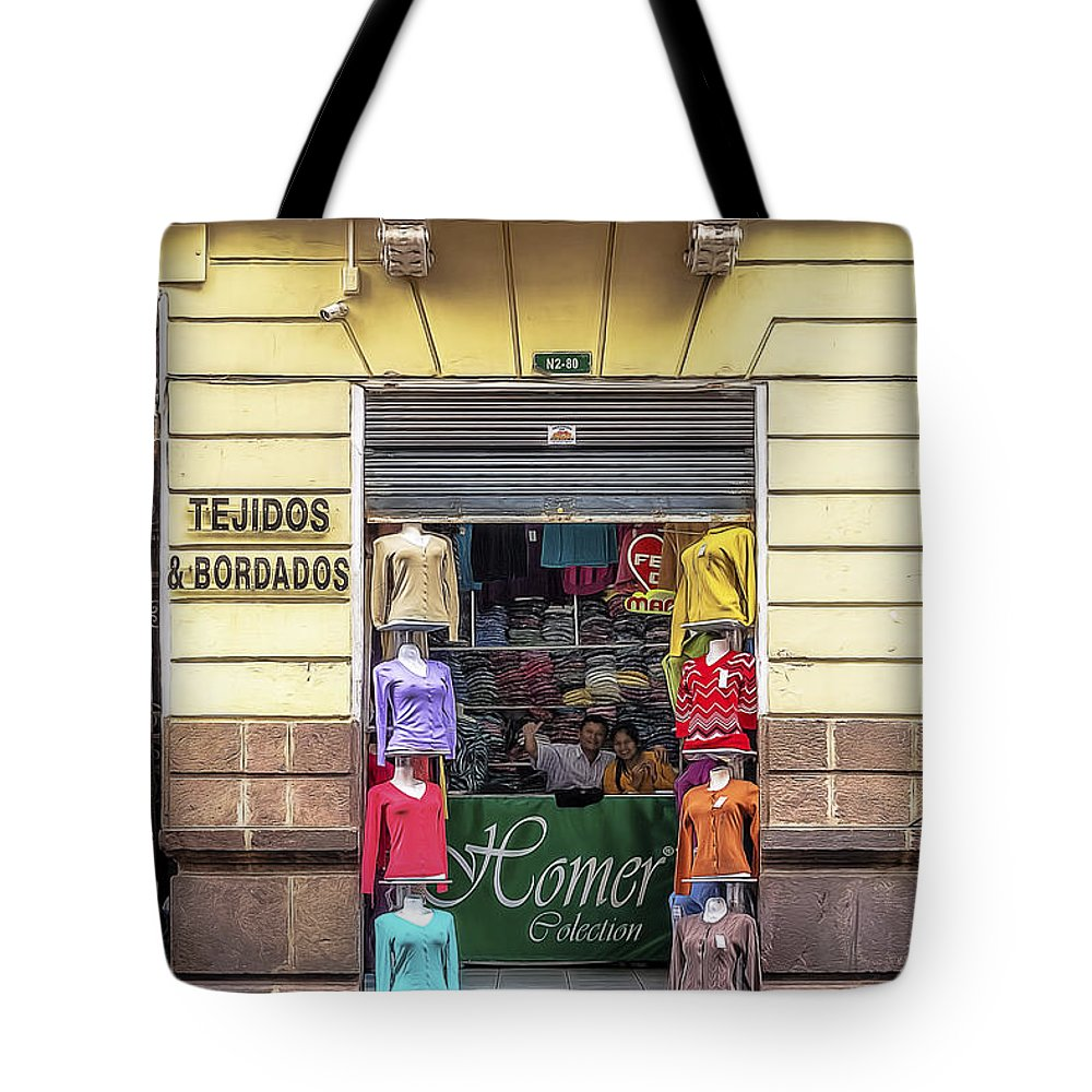 America Tote Bag featuring the photograph Tejidos Y Bordados by Maria Coulson