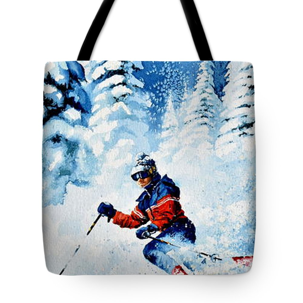 Skier Tote Bag featuring the painting Telemark Trails by Hanne Lore Koehler